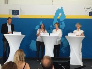 Debatt om EU:s asylpolitik med Bodil Valero (MP), Madelaine Seidlitz (Amnesty International) och Anna Maria Corazza Bildt (M). Moderator Markus Bonekamp (Europahuset).