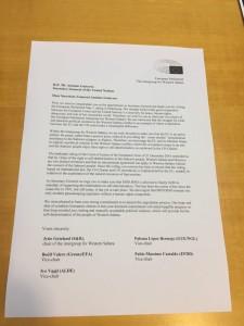 Brev till Guterres från Intergruppen Västsahara